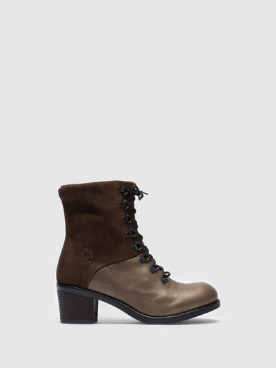 Fly London Gray Lace-up Ankle Boots