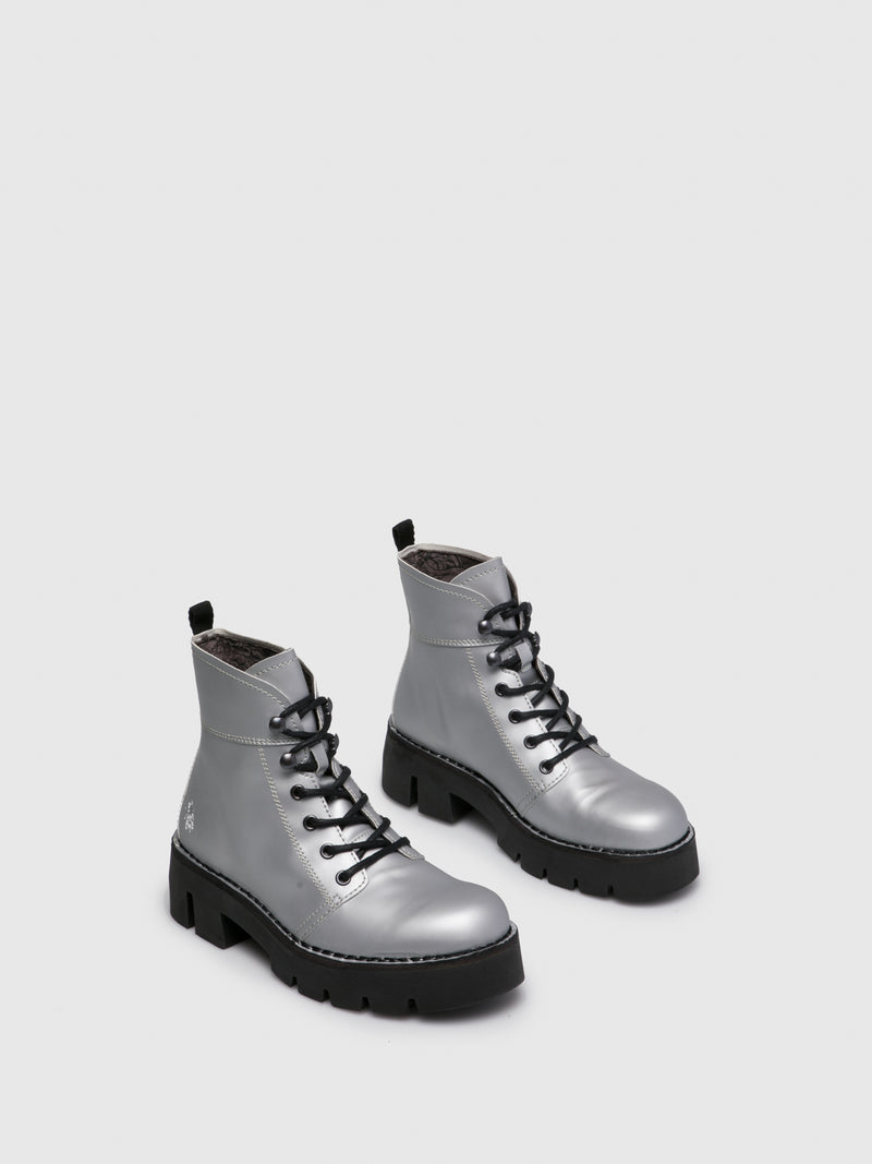 Fly London Silver Lace-up Ankle Boots
