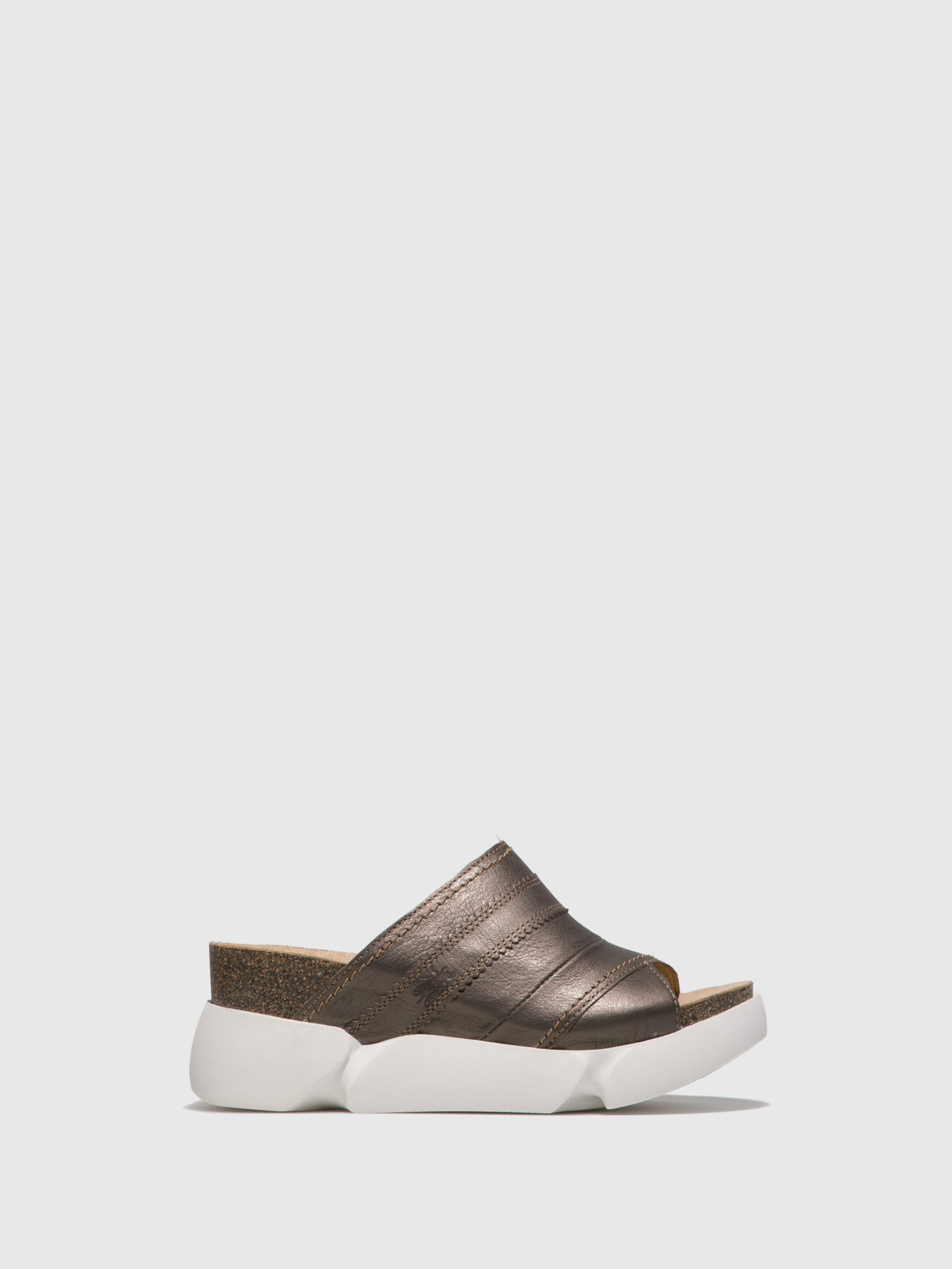 Fly London Gray Open Toe Mules