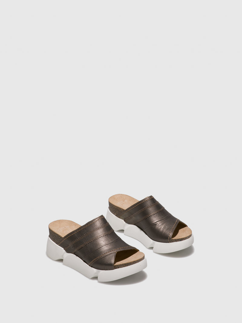 Gray Open Toe Mules