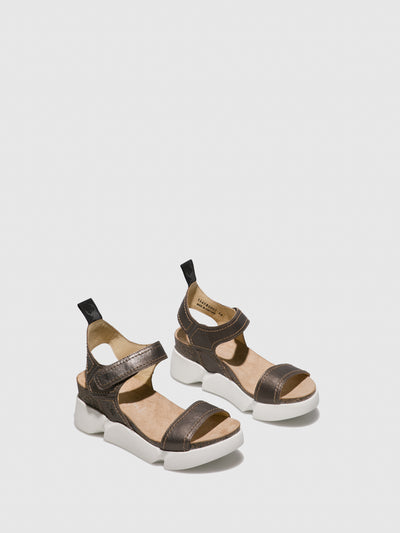 Fly London Gray Velcro Sandals