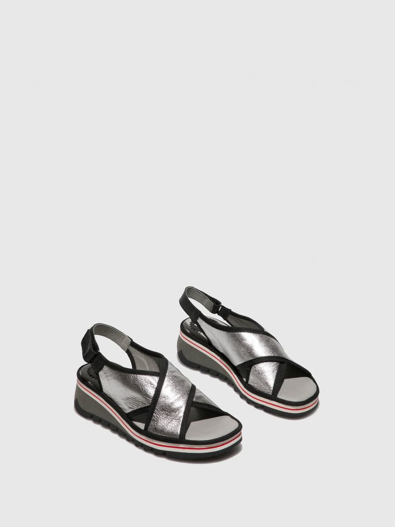 Fly London Silver Crossover Sandals