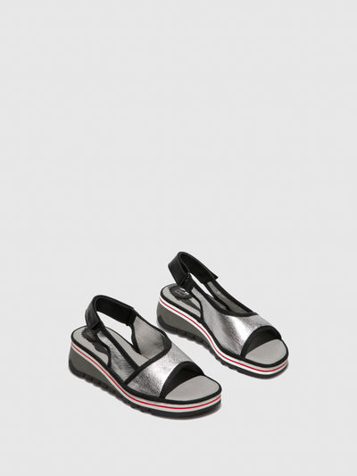 Fly London Silver Sling-Back Sandals