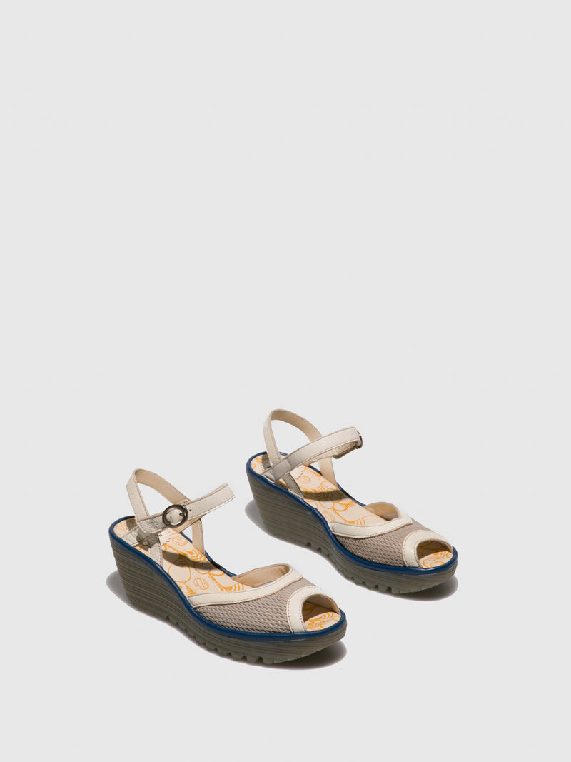 Fly London LightGray Open Toe Sandals