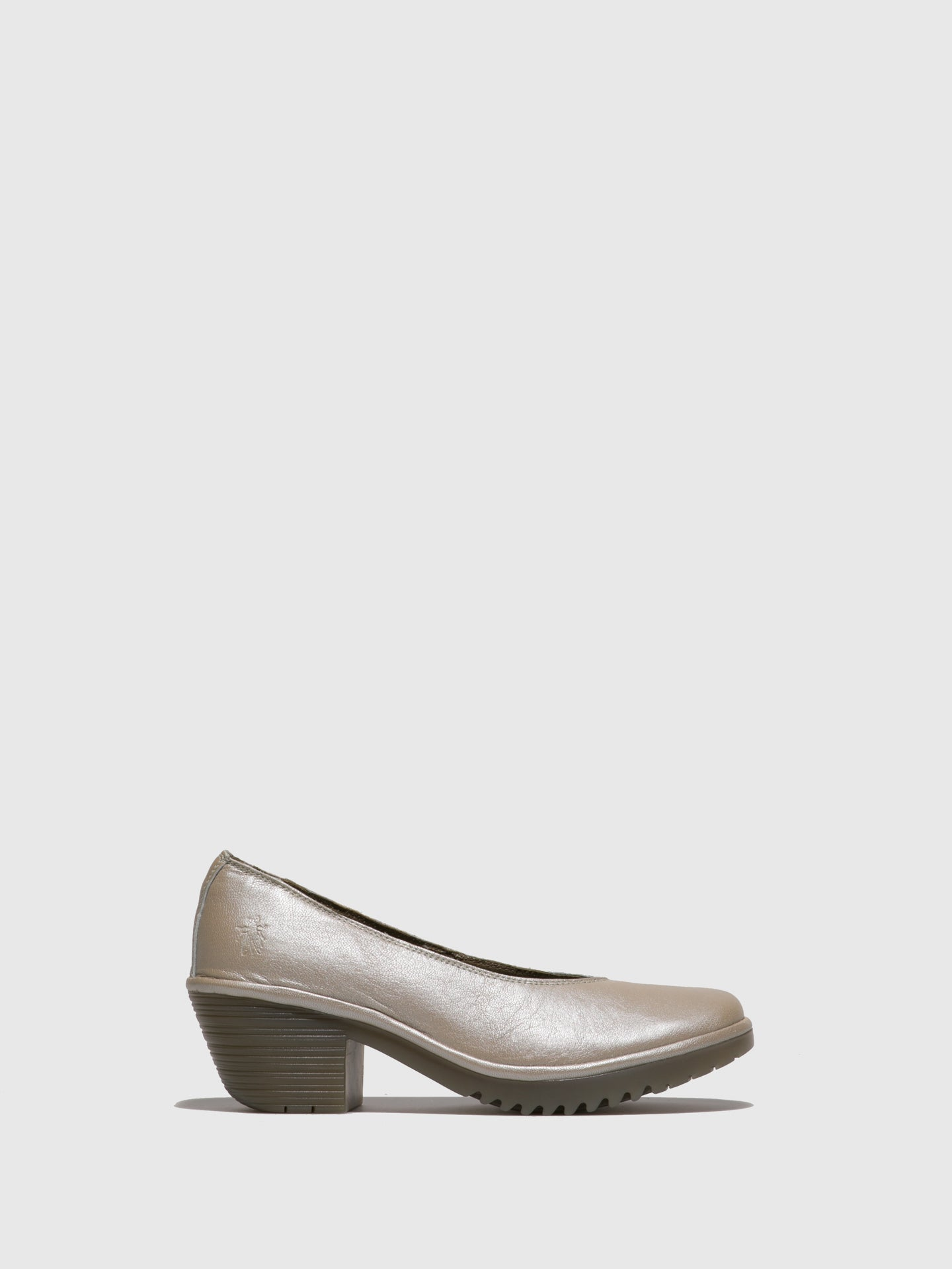 Fly London Silver Round Toe Pumps
