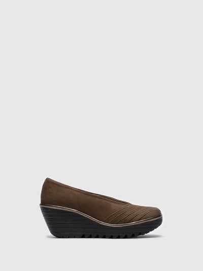 Fly London Brown Round Toe Pumps
