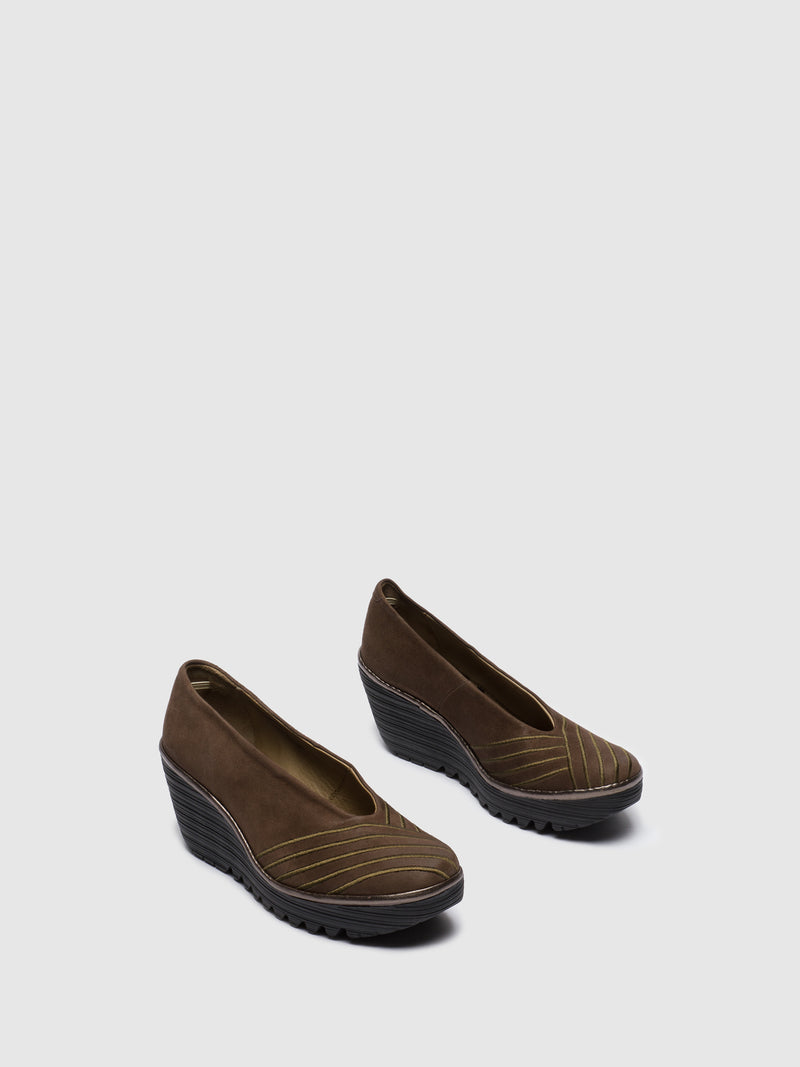 Brown Round Toe Pumps