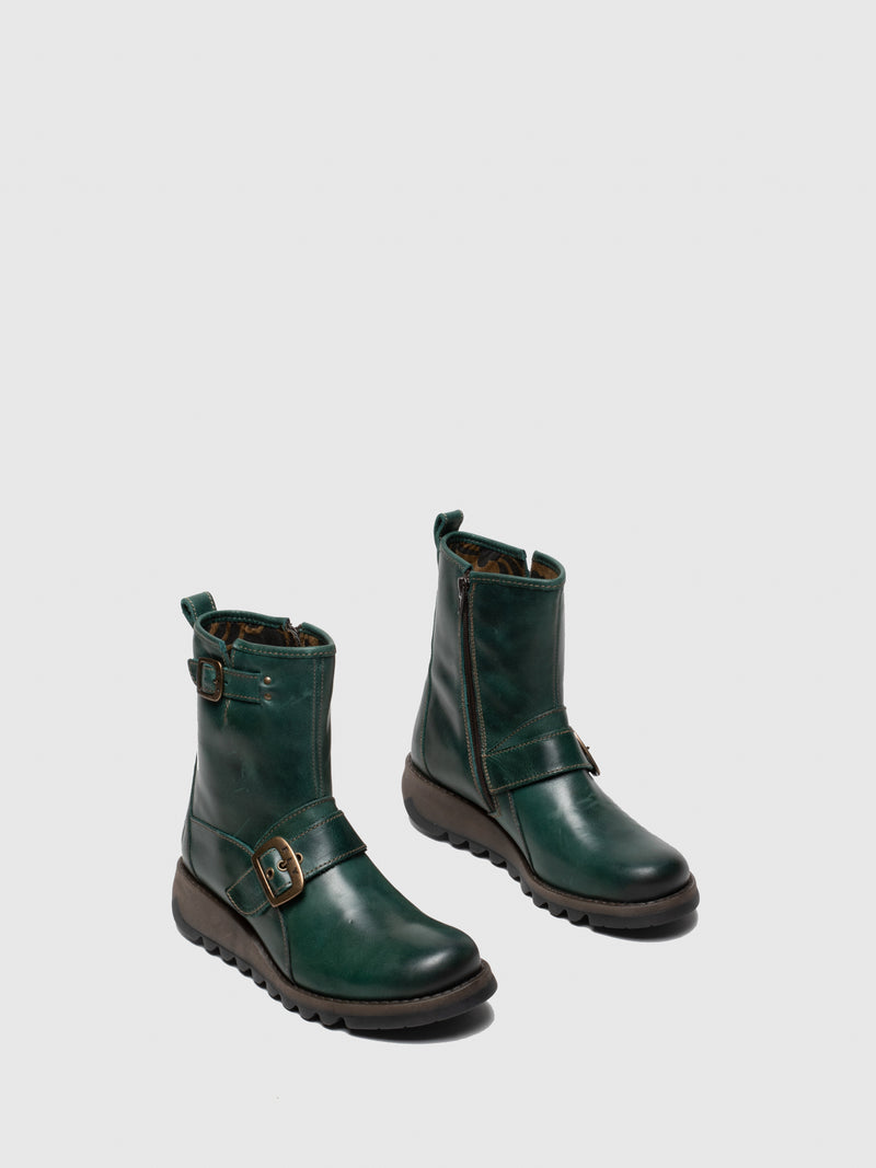Green Buckle Ankle Boots