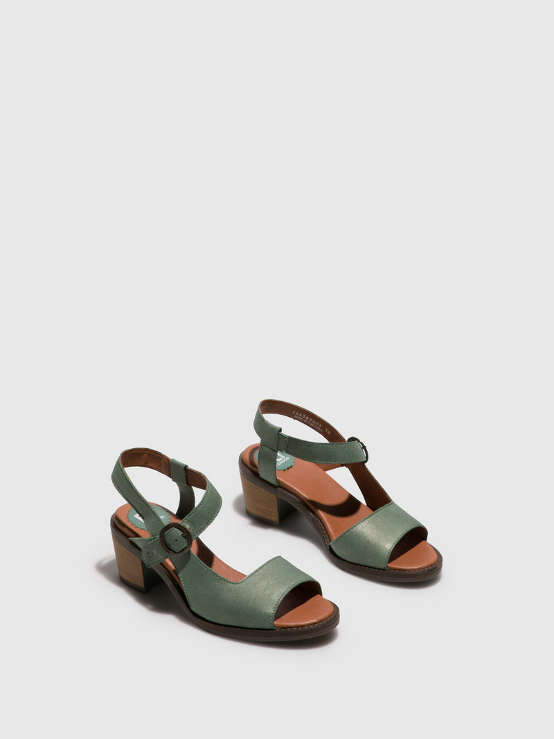 Fly London Green Buckle Sandals
