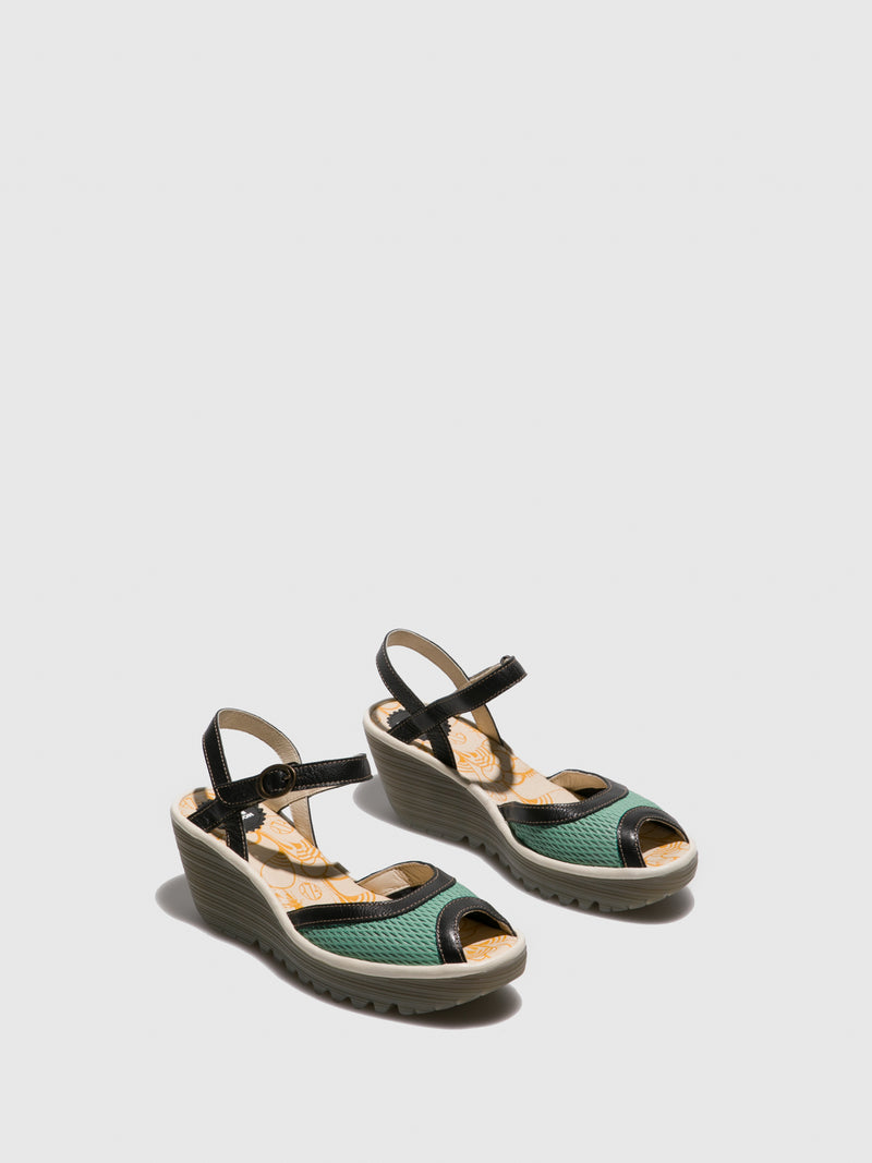 Green Open Toe Sandals