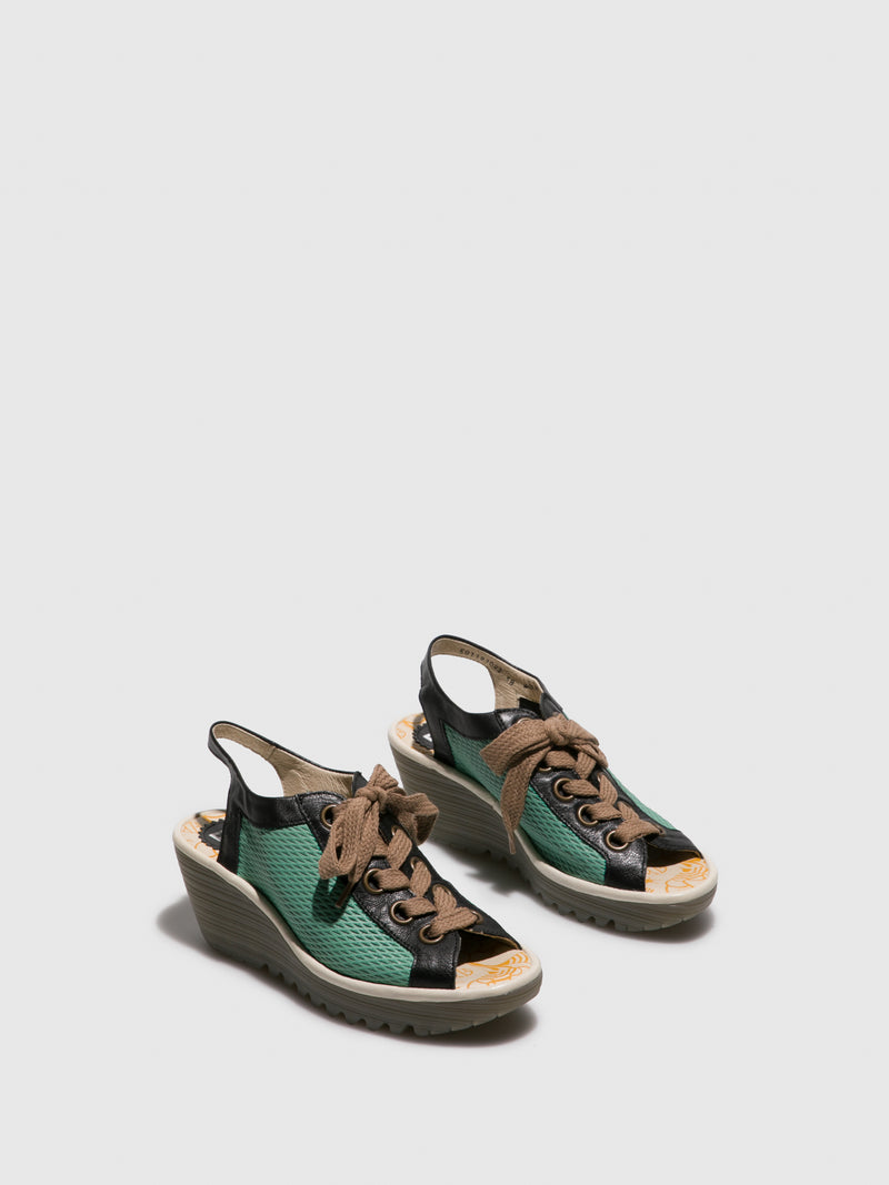 Fly London Green Lace-up Sandals