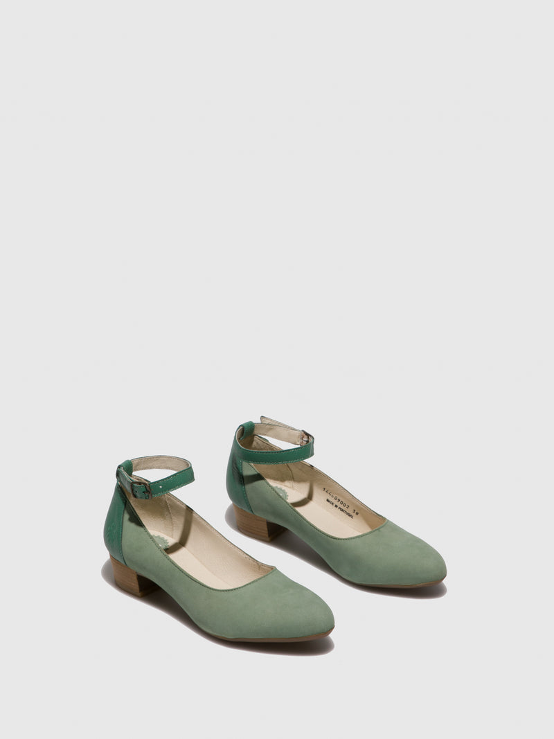 Fly London PaleGreen Ankle Strap Shoes