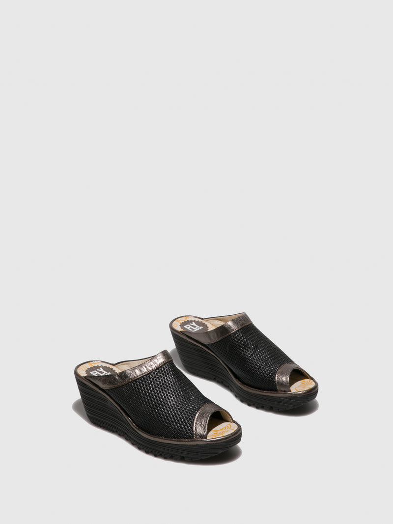 Brown Black Open Toe Mules