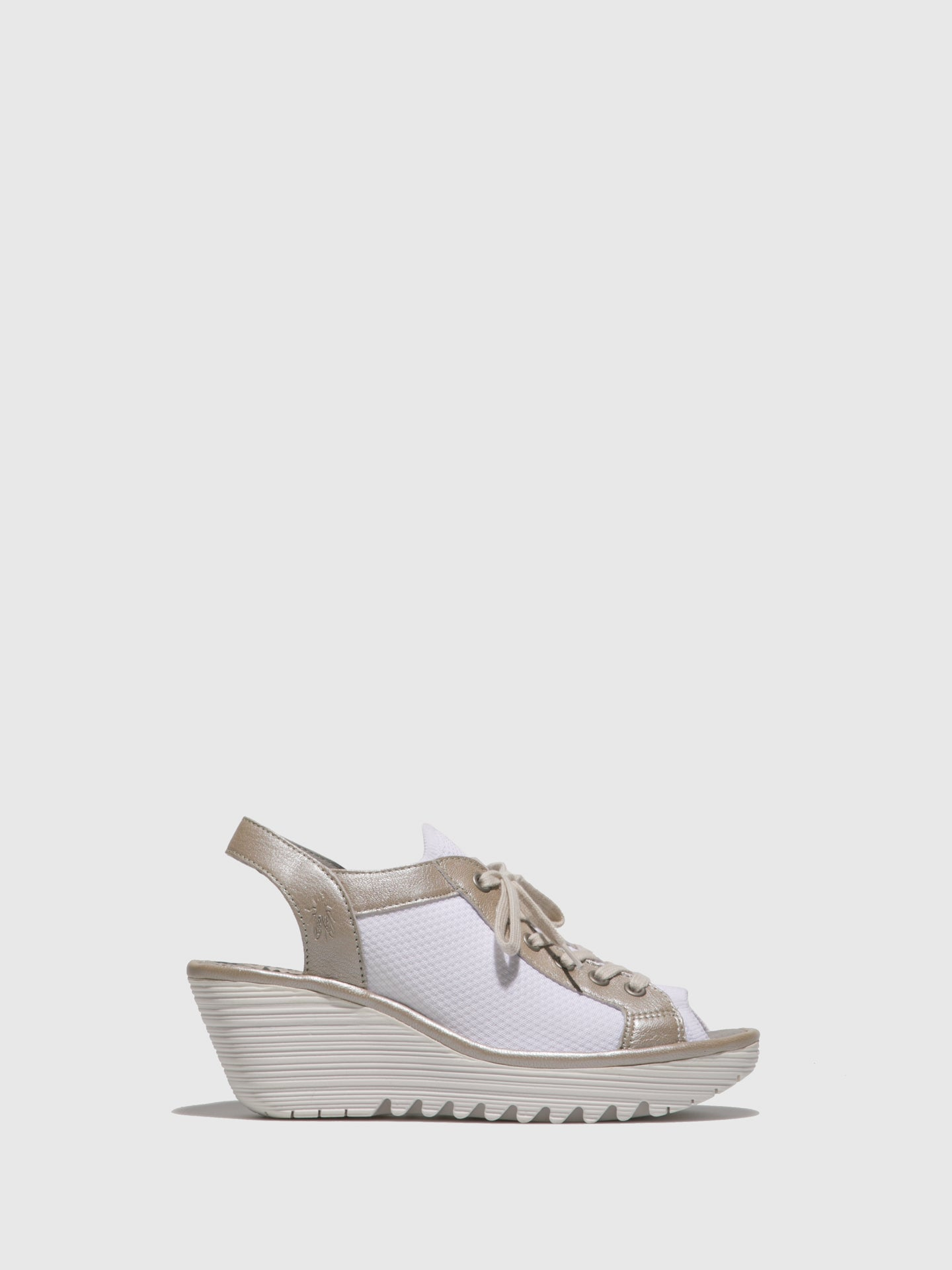 Fly London Silver White Lace-up Sandals