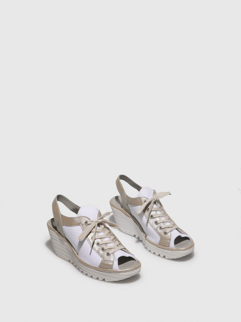 Silver White Lace-up Sandals