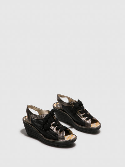 Fly London Brown Black Lace-up Sandals