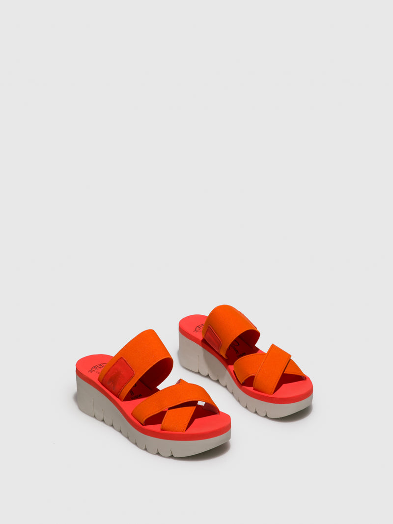 Fly London Orange Strappy Mules