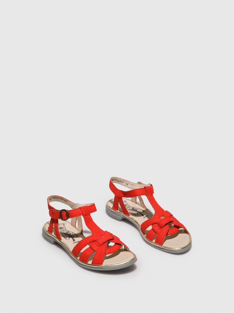 Fly London Orange T-Strap Sandals