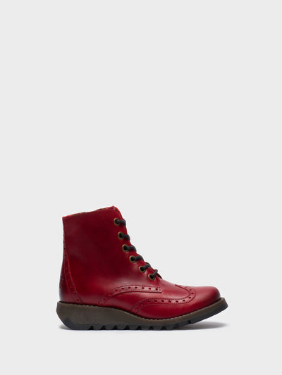 Fly London Red Lace-up Ankle Boots