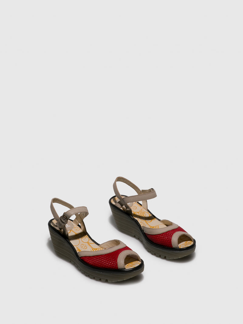 Red Open Toe Sandals