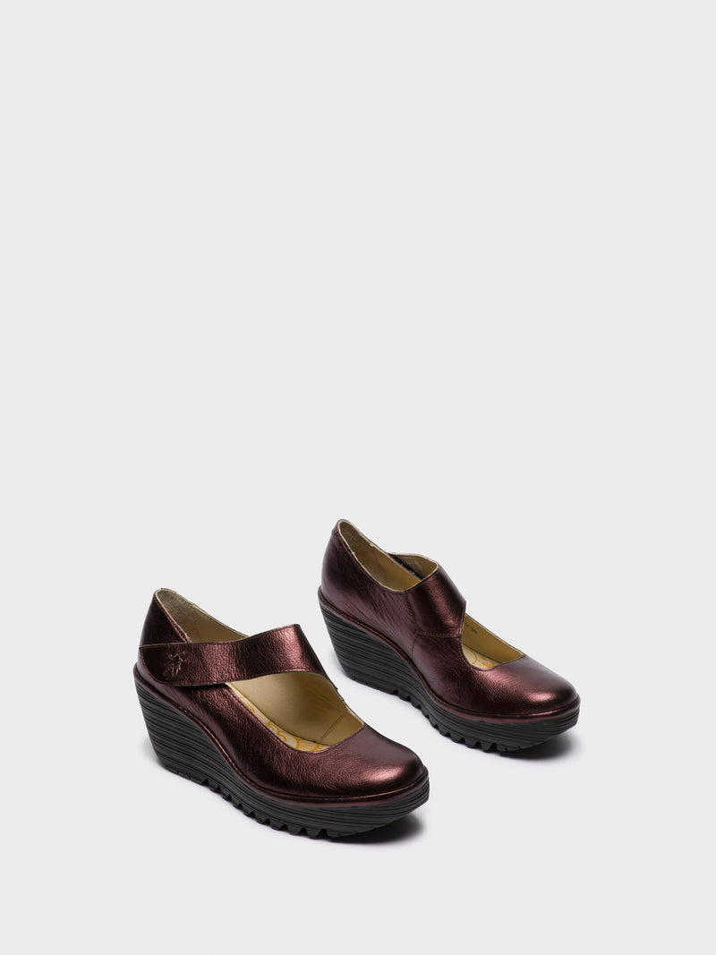 Maroon Wedge Shoes