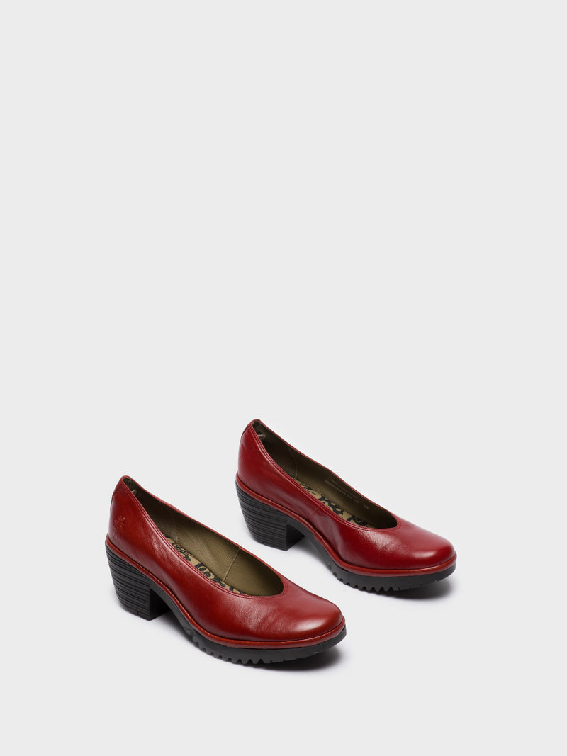 Red Round Toe Pumps