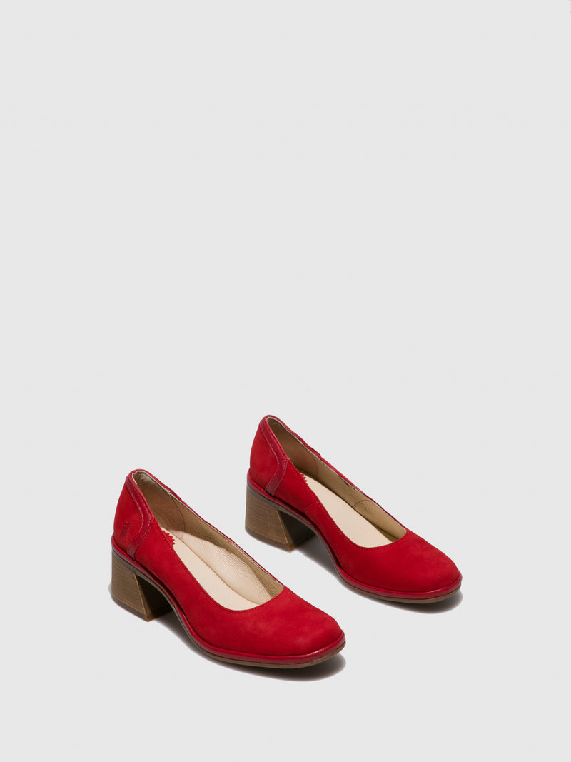 Firebrick Chunky Heel Shoes