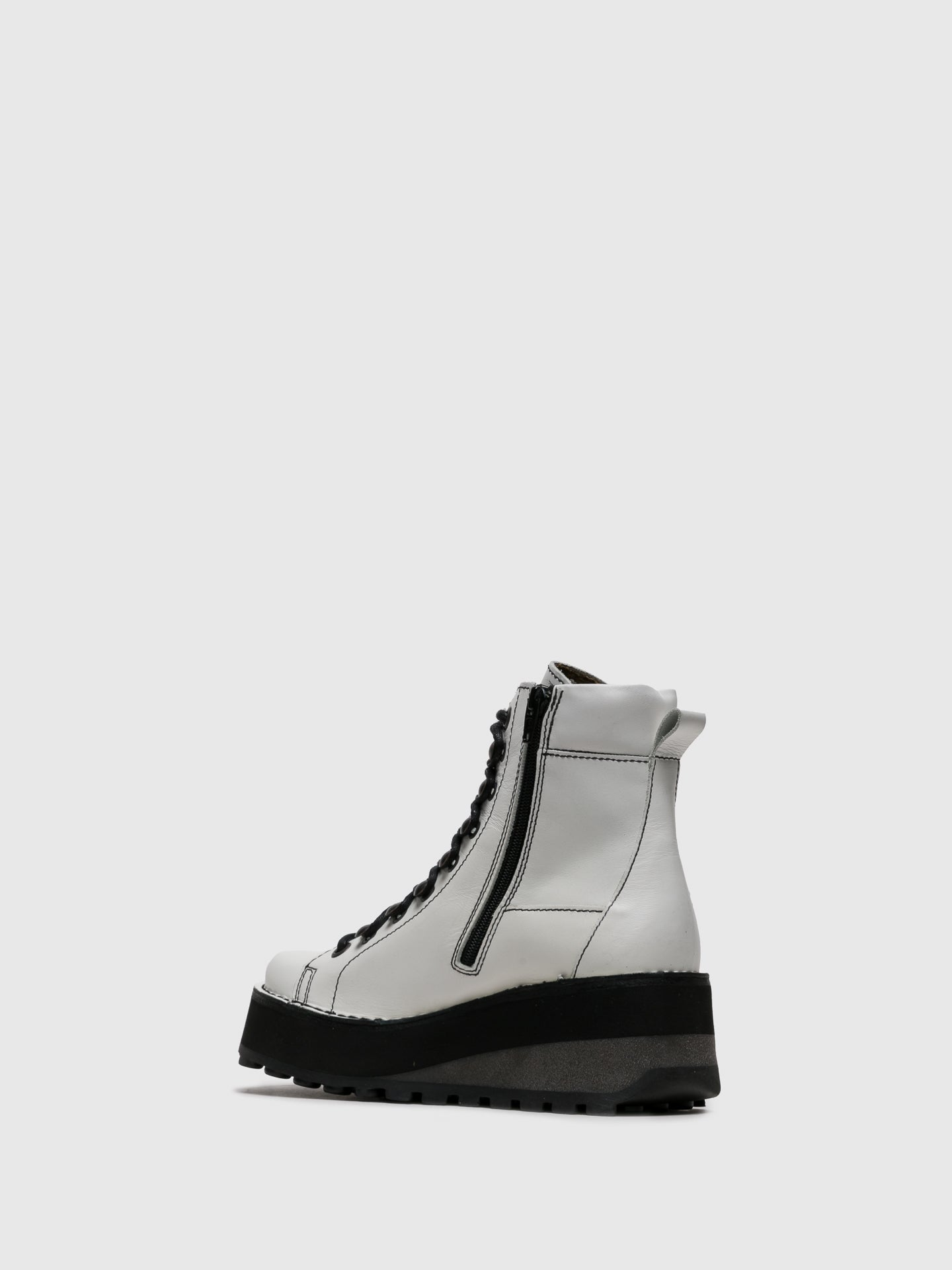 Fly London White Lace-up Ankle Boots