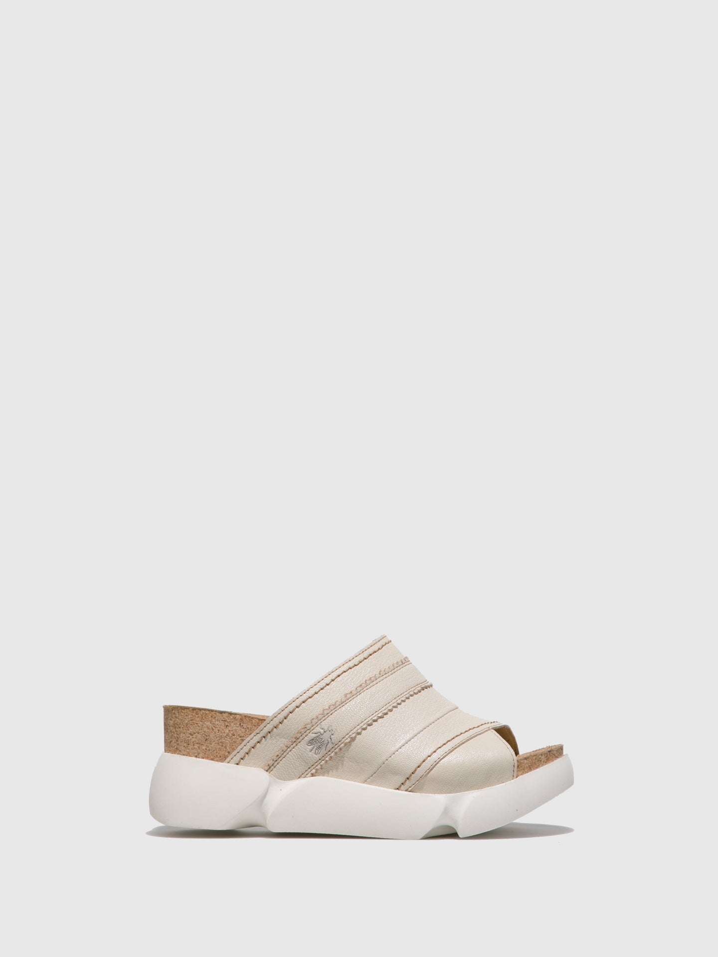 Fly London White Open Toe Mules
