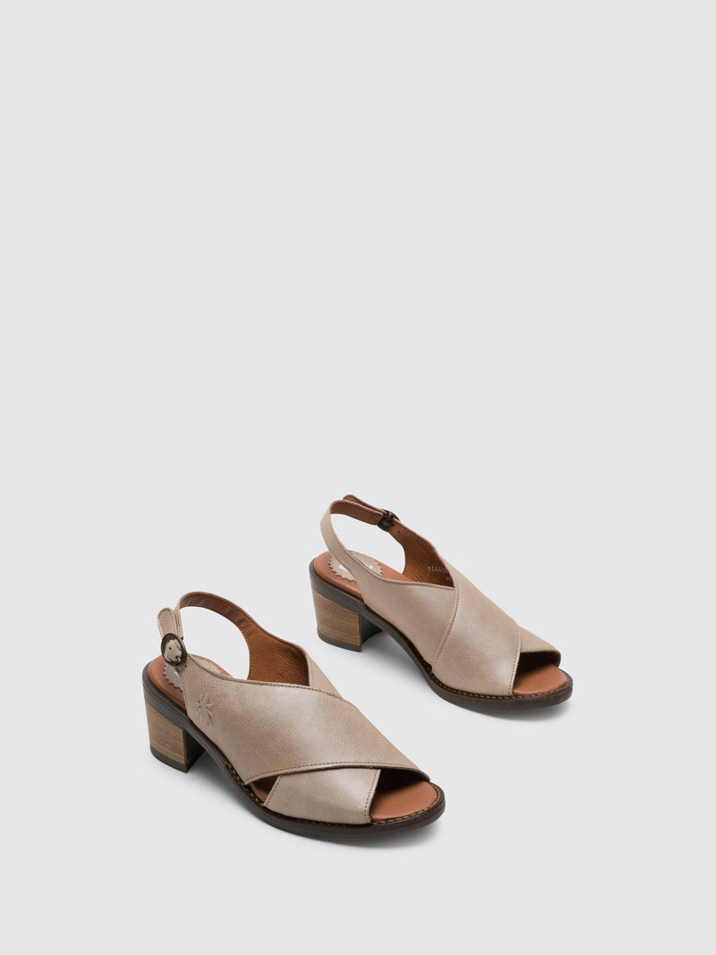Fly London Beige Sling-Back Sandals