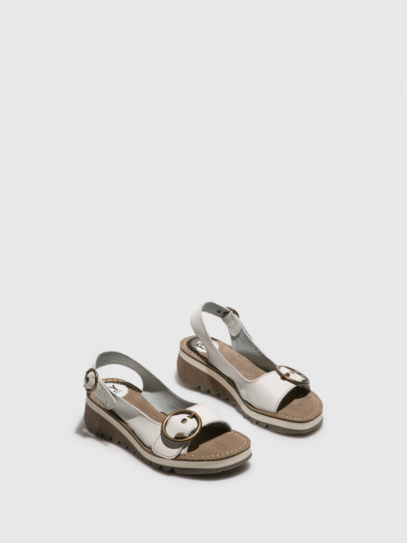 Fly London White Sling-Back Sandals
