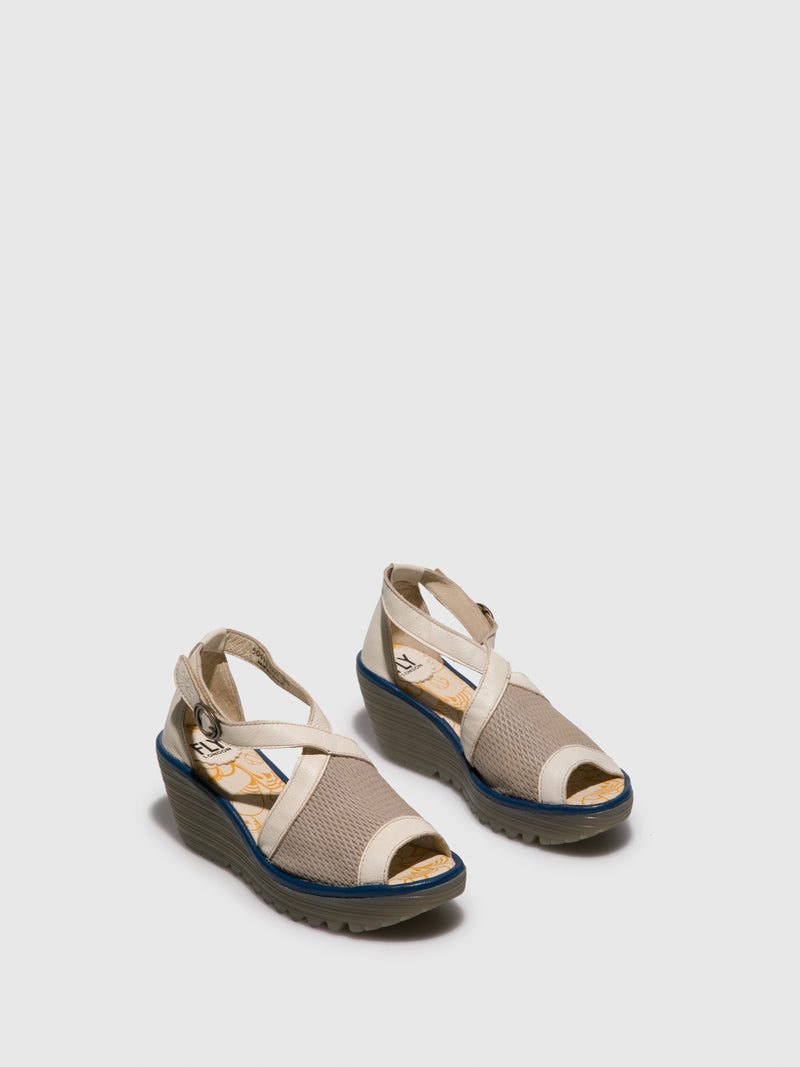 Beige Crossover Sandals