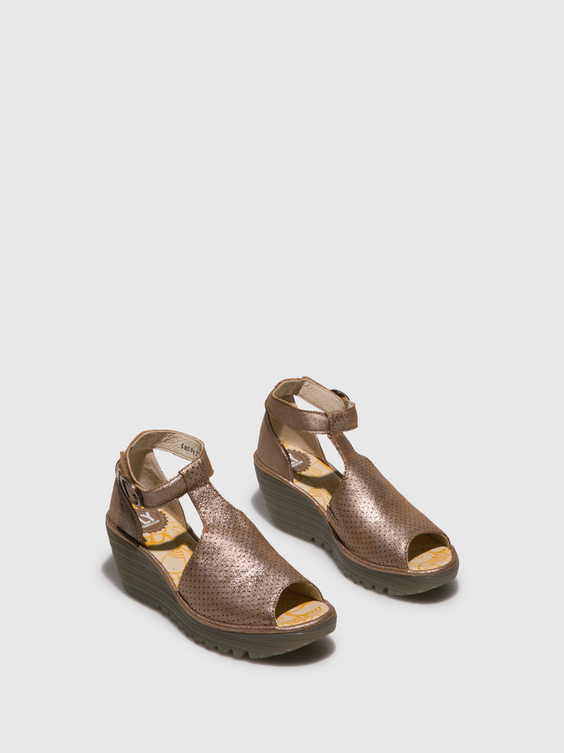 Fly London Gold Ankle Strap Sandals