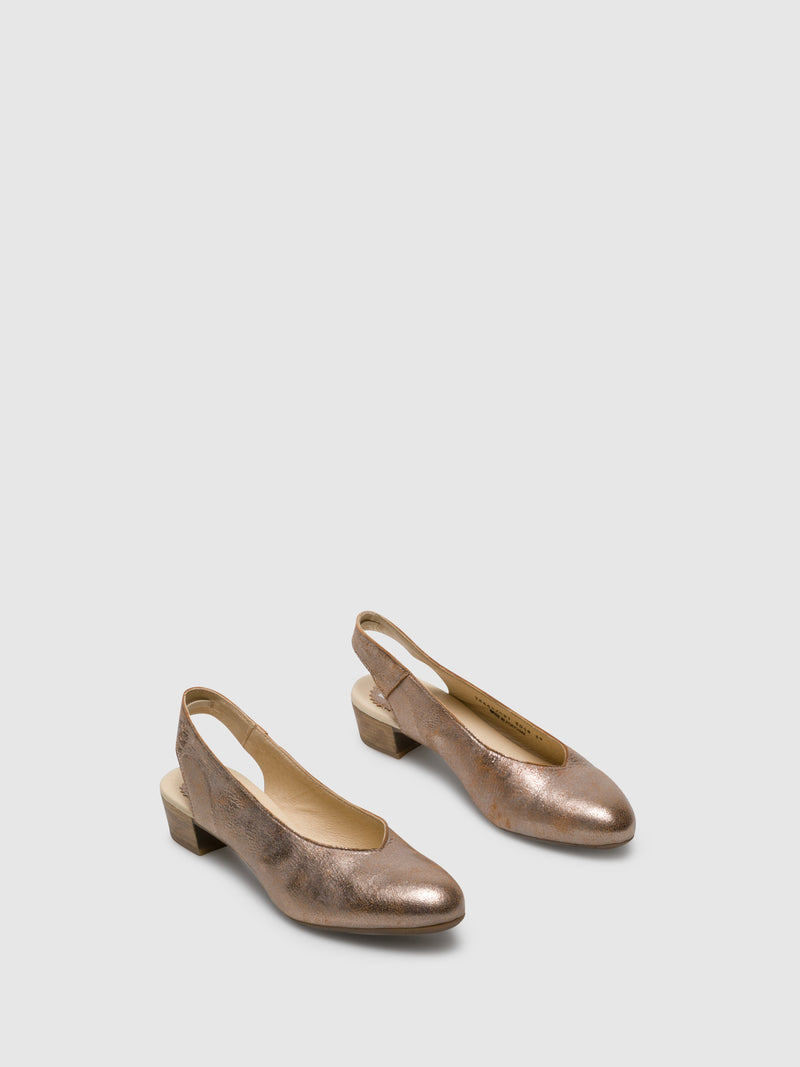 Fly London Gold Sling-Back Pumps Shoes