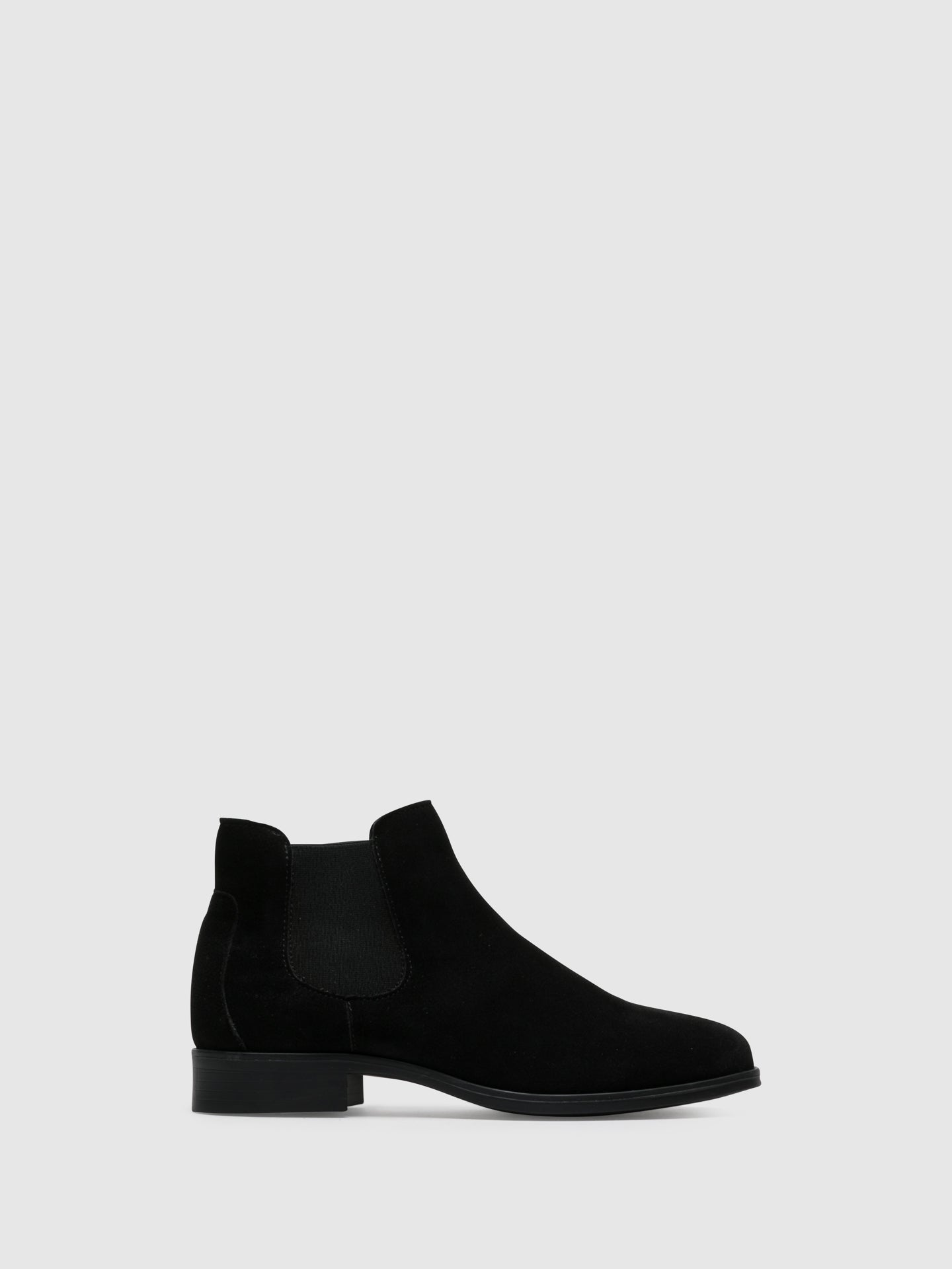 Foreva Black Suede Elasticated Ankle Boots