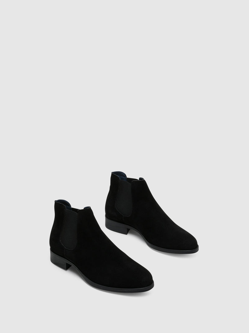 Black Suede Elasticated Ankle Boots