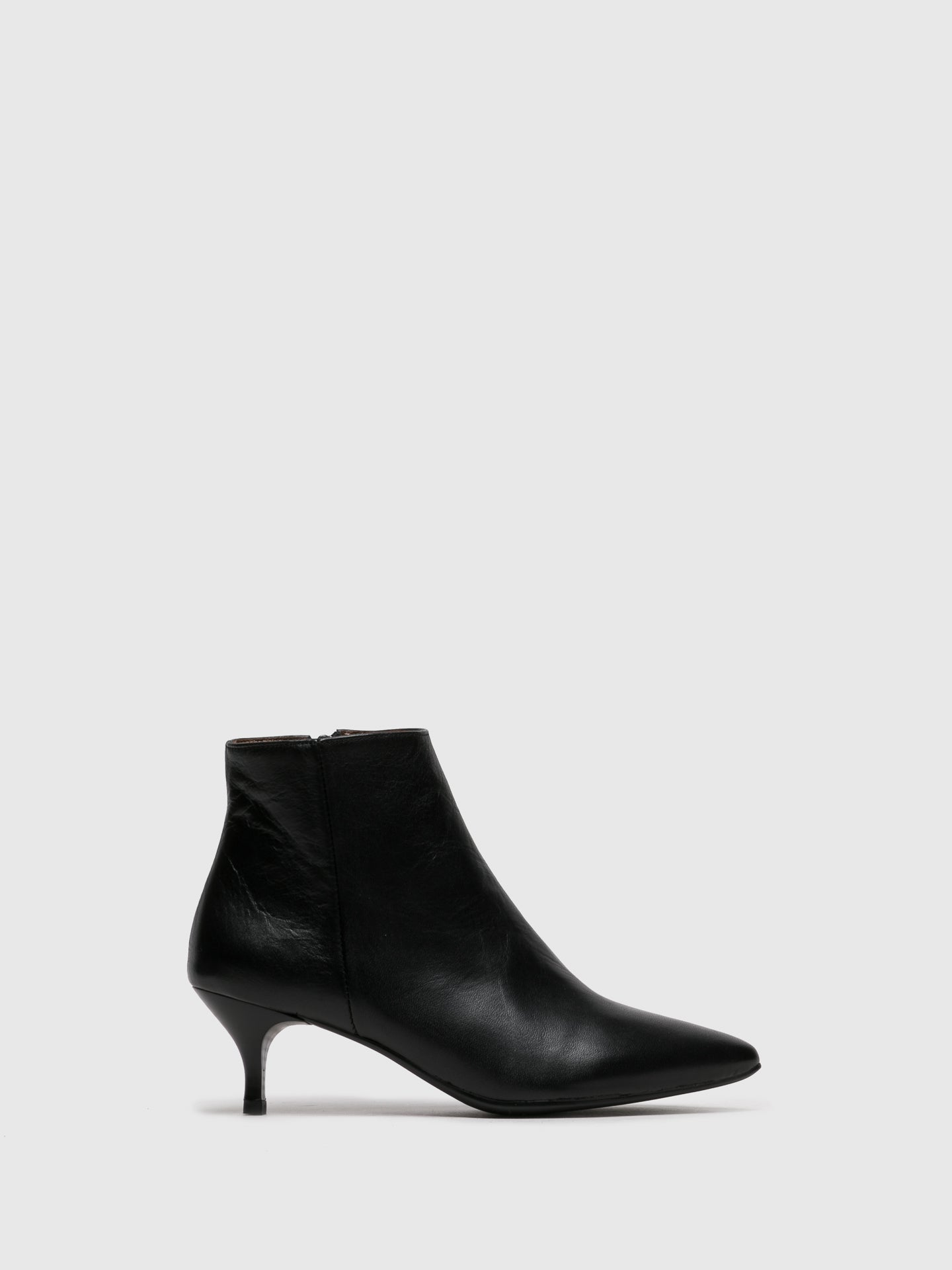 Foreva Black Leather Zip Up Ankle Boots