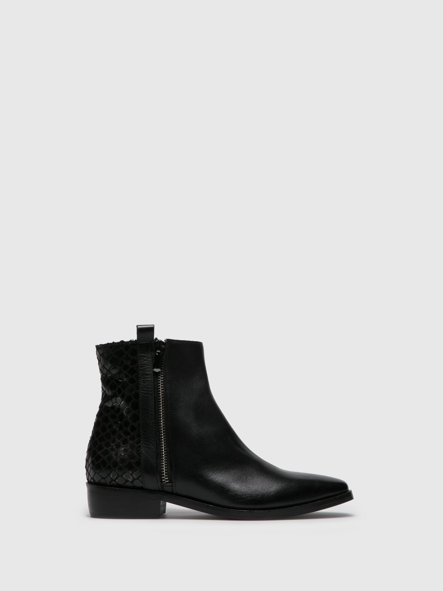 Foreva Black Zip Up Ankle Boots