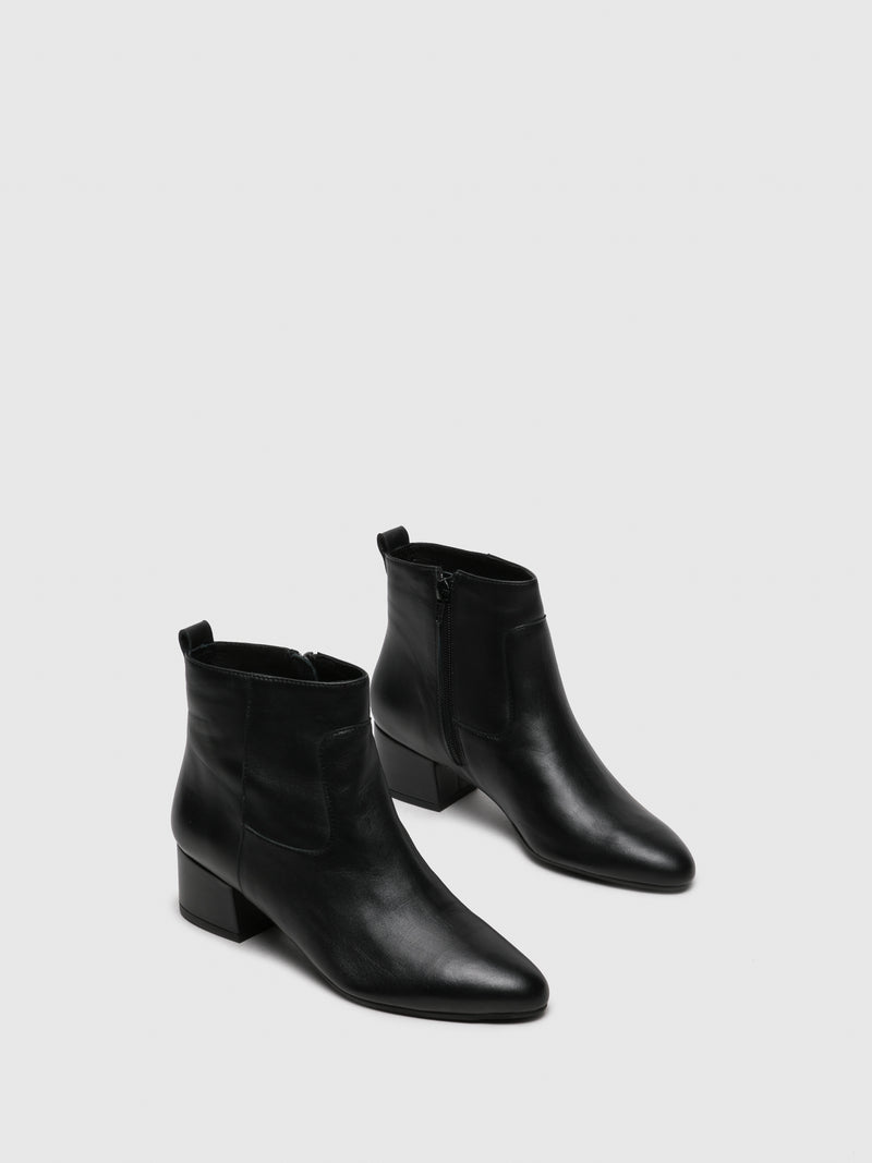 Black Leather Zip Up Ankle Boots