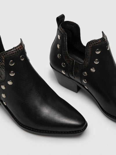 Foreva Black Cowboy Ankle Boots