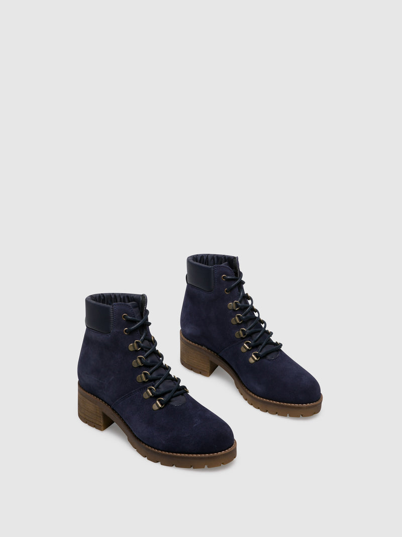 Blue Lace-up Ankle Boots