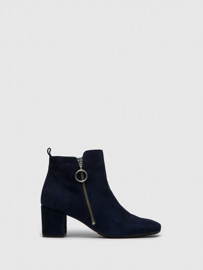 Foreva Navy Zip Up Ankle Boots
