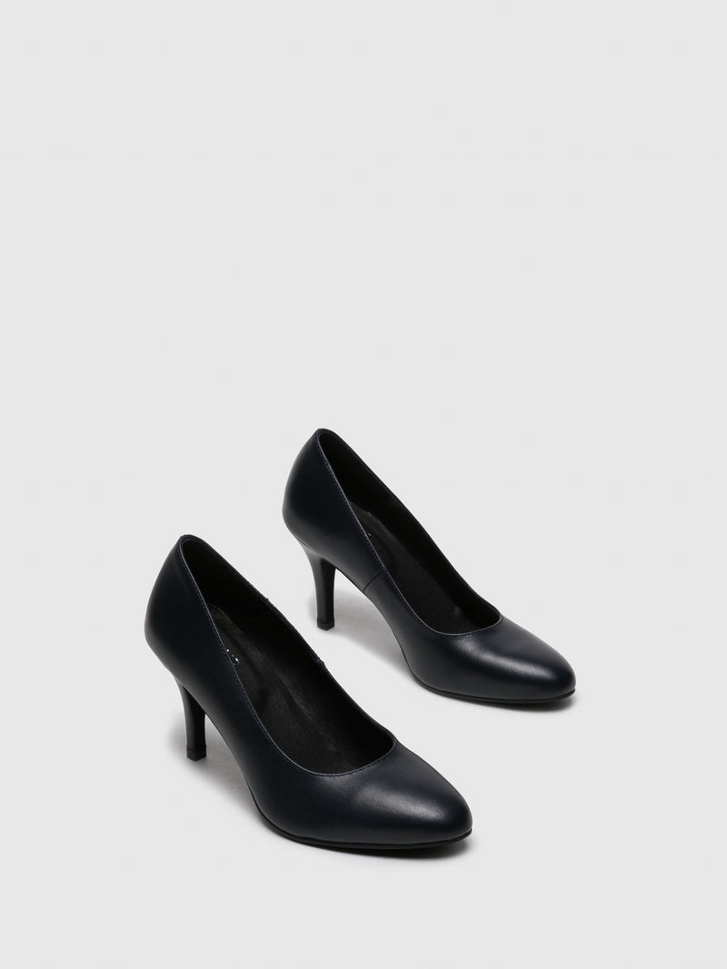 Navy Round Toe Pumps