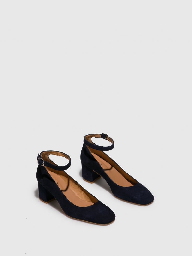 Blue Ankle Strap Shoes