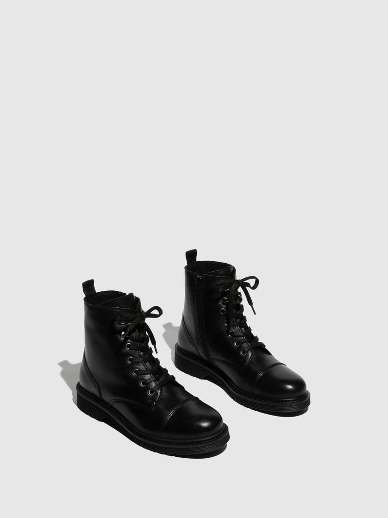 Foreva Black Leather Lace-up Boots