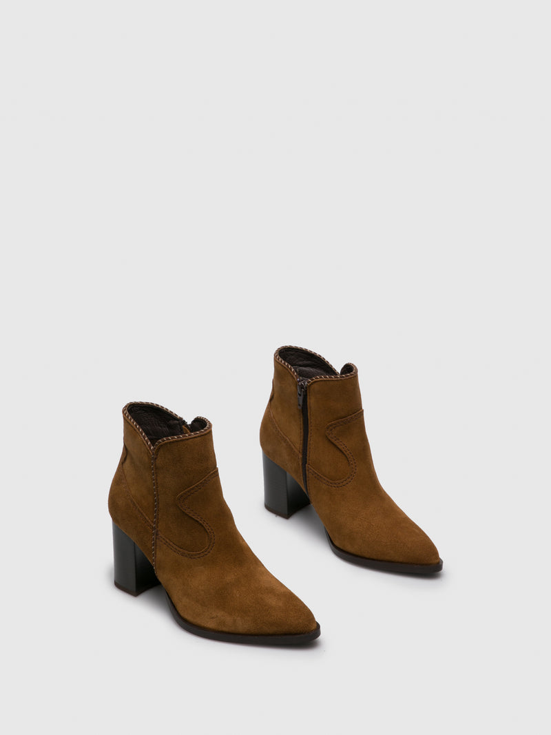 Camel Zip Up Ankle Boots