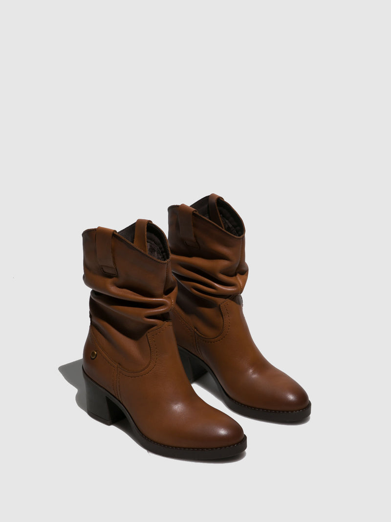 Camel Chunky Heel Boots