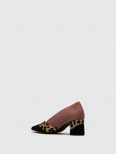 Foreva Pink Black Pointed Toe Shoes