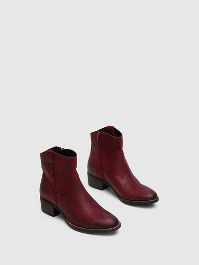 Foreva Red Zip Up Ankle Boots