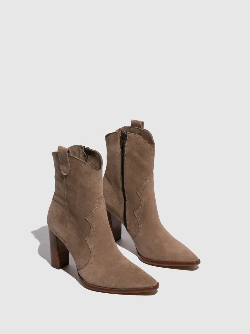 Beige Zip Up Ankle Boots